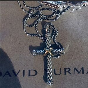 David Yurman Cable Two Tone Cross w 20inch Chain